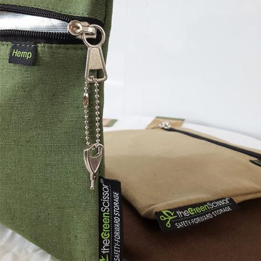 The Green Scissor Locking Stash Bag: Hemp